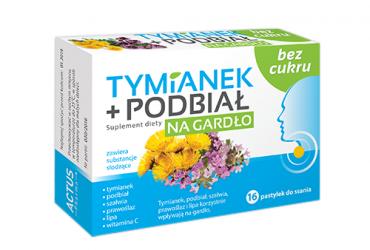 Tymianek + Podbiał na gardło bez cukru (16 pastylek)