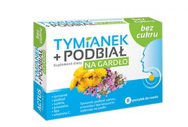 Tymianek + Podbiał na gardło bez cukru (8 pastylek)